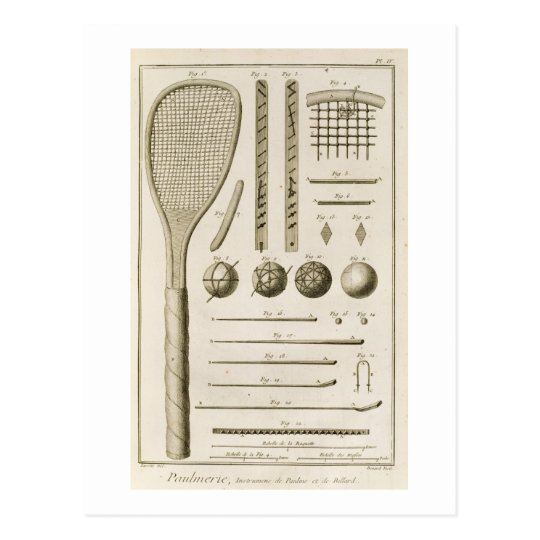 Tennis Racquets and Billiard Cues, from the 'Encyc Postcard