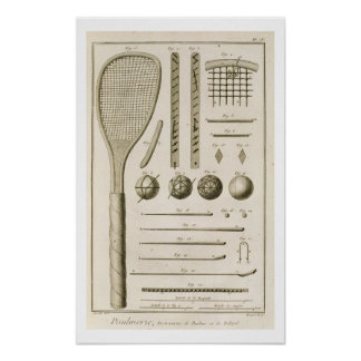 Tennis Racquets and Billiard Cues, from the 'Encyc Poster