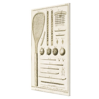 Tennis Racquets and Billiard Cues, from the 'Encyc Stretched Canvas Prints