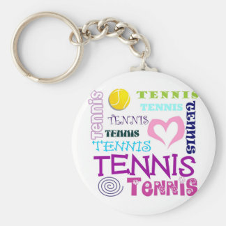 Tennis Repeating Basic Round Button Key Ring