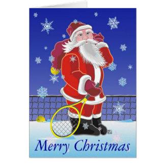 Tennis Santa Happy Holidays Card