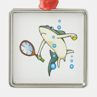 Tennis Shark Silver-Colored Square Decoration