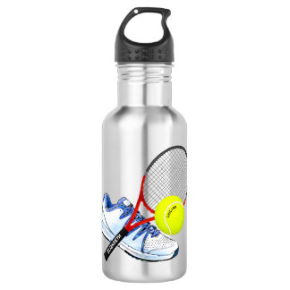 Tennis Shoe Ball And Racket With Your Custom Text 532 Ml Water Bottle
