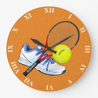Tennis Shoe Ball And Racket With Your Custom Text Wall Clocks