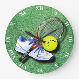 Tennis Shoe Ball Racket On Grass And Your Own Text Large Clock