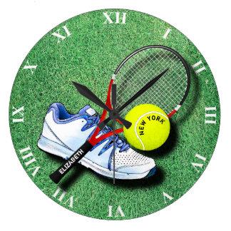 Tennis Shoe Ball Racket On Grass And Your Own Text Wallclock