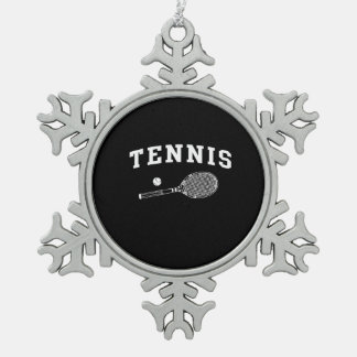 Tennis Snowflake Pewter Christmas Ornament