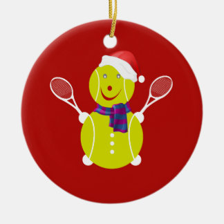 Tennis snowman christmas ornament