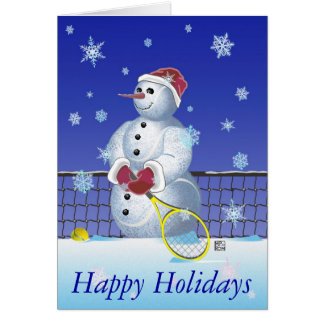 Tennis Snowman Happy Holidays Card