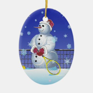 Tennis Snowman, Happy Holidays Ceramic Oval Decoration