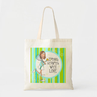 Tennis starts with love tote bag