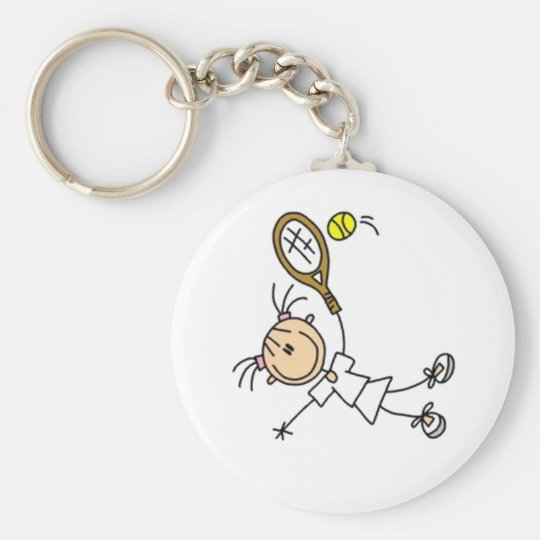 Tennis Stick Figure Basic Round Button Key Ring