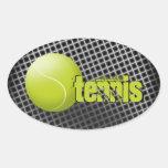 Tennis sticker, tennis ball, sport, personalised. oval sticker