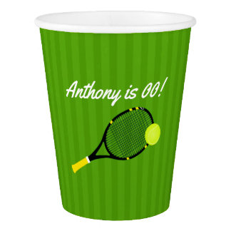 Tennis themed Birthday Party personalized Paper Cup