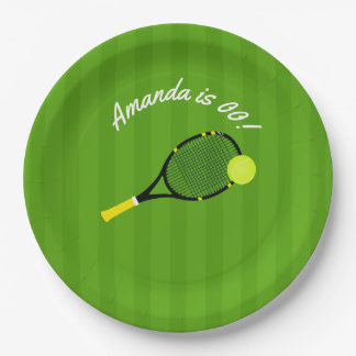 Tennis themed Birthday Party personalized Paper Plate