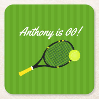 Tennis themed Birthday Party personalized Square Paper Coaster