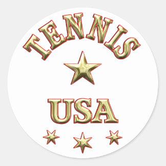 Tennis USA Round Sticker