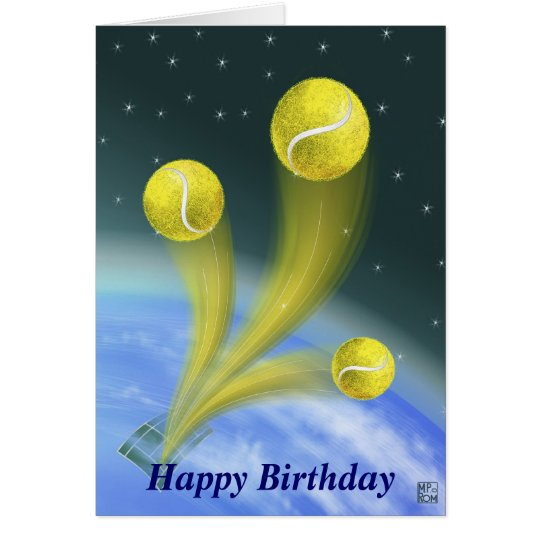 tennis victory Happy Birthday personalised Card
