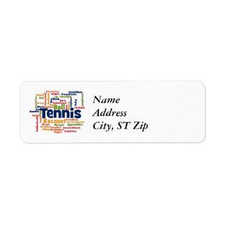 Tennis Word Cloud Return Address Label