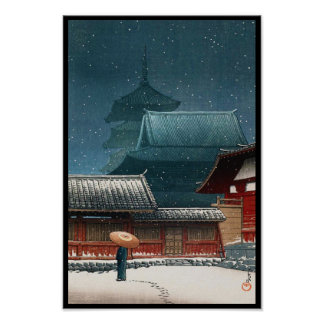 Tennô-ji Temple in Osaka hasui kawase shin hanga Poster