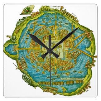 Tenochtitlan Map Wall Clock