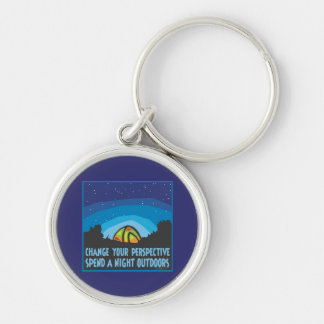 Tent Camping Silver-Colored Round Key Ring