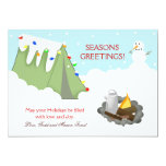 Tent Camping Snow Holiday Christmas Card Personalised Invitation