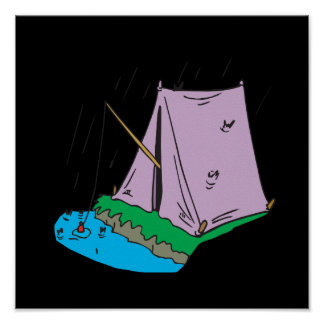 Tent Fishing Print