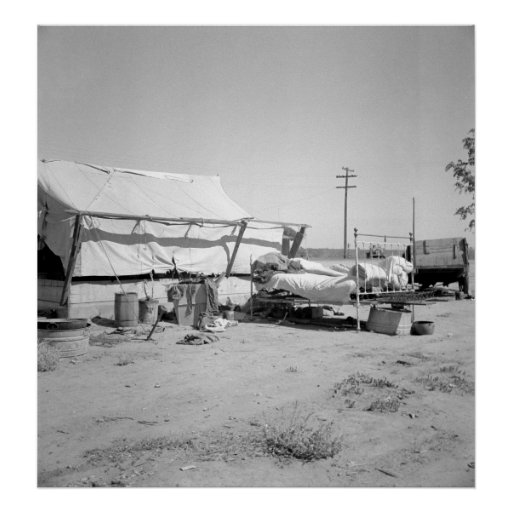Tent home of drought refuge poster