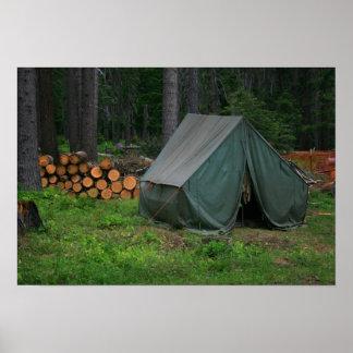 Tent in woods print