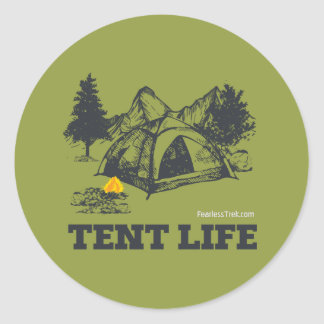 Tent Life Classic Round Sticker