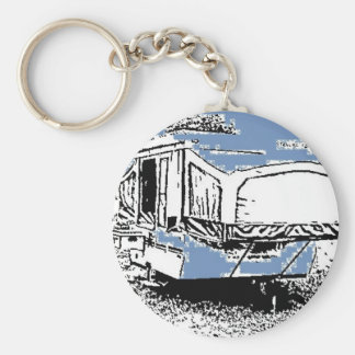 Tent Trailer on Blue Basic Round Button Key Ring