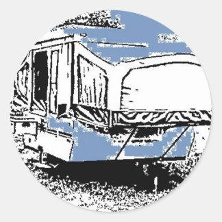 Tent Trailer on Blue Round Sticker