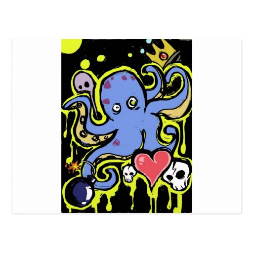 Tentacle and Skull Love Postcards