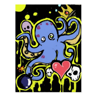 Tentacle and Skull Love Postcard