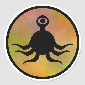 Tentacle Monster Hazard Round Sticker