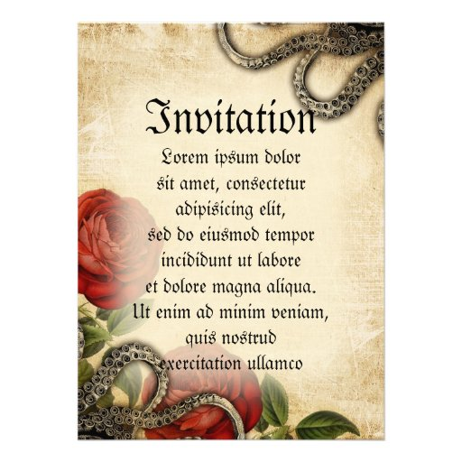 Tentacles And Roses Custom Invitations
