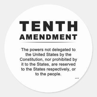 Tenth Amendment Round Sticker