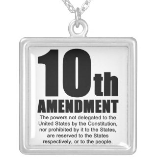 Tenth Amendment Square Pendant Necklace