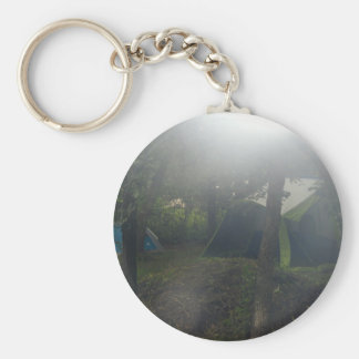tents in morning mist keychain