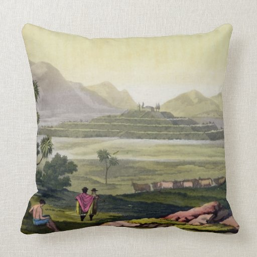 Teocalli, the Great Temple at Tenochtitlan, Mexico Throw Pillows