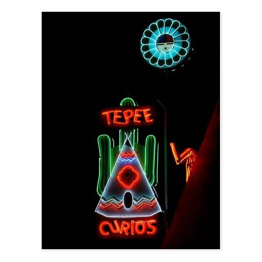Tepee Curios Neon Sign, Tucumcari, N.M. Postcard