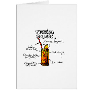 Tequila Sunrise Cocktail Recipe Card