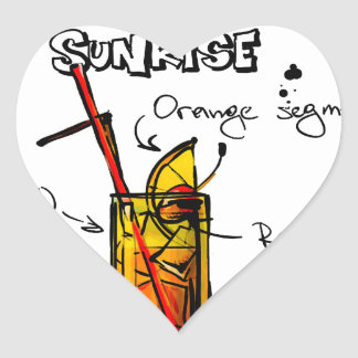 Tequila Sunrise Cocktail Recipe Heart Sticker