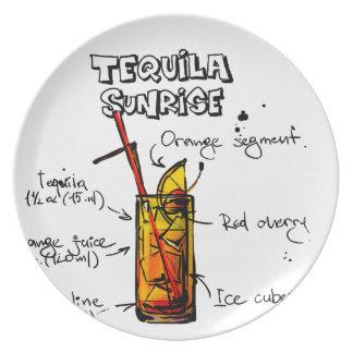 Tequila Sunrise Cocktail Recipe Plate