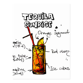 Tequila Sunrise Cocktail Recipe Postcard