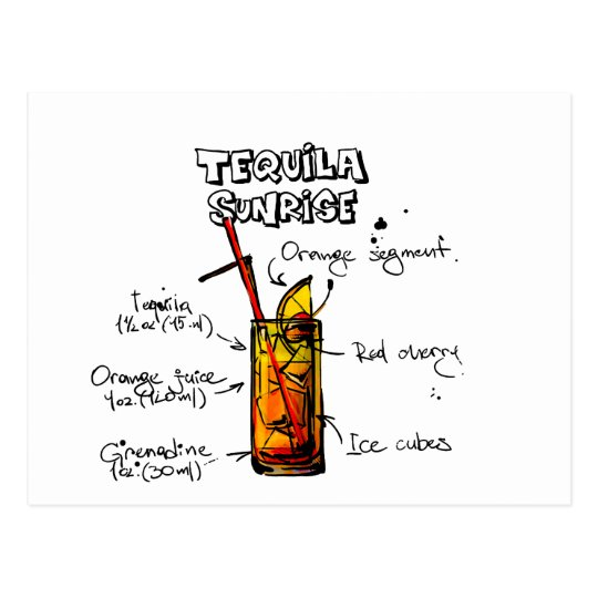 Tequila Sunrise Cocktail Recipe Postcard