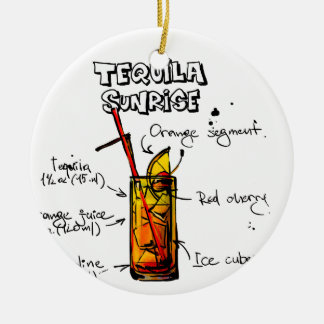 Tequila Sunrise Cocktail Recipe Round Ceramic Decoration