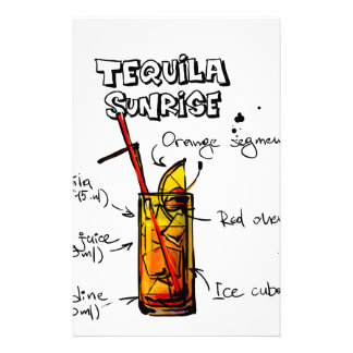 Tequila Sunrise Cocktail Recipe Stationery