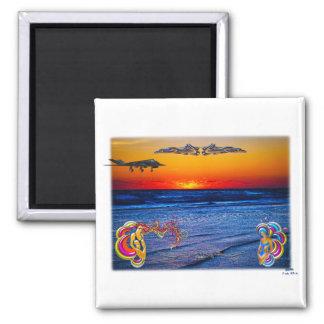 Tequila Sunrise Over Atlantic Big Beach Big Fun Square Magnet